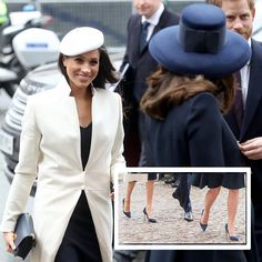 Blue Suede Shoes  When Meghan and Kate stepped out for the Commonwealth Service on March 12, 2018, the Duchess of Cambridge, walking ahead, made sure to turn back and give her sister-in-law smiles of support. And the two were in step in more ways than one. Not only did they both wear dark blue, but they also wore nearly identical high heeled shoes in navy blue, inset. They were different designer brands, however –  Kate chose the Malory pumps by Rupert Sanderson, while Meghan picked the navy…