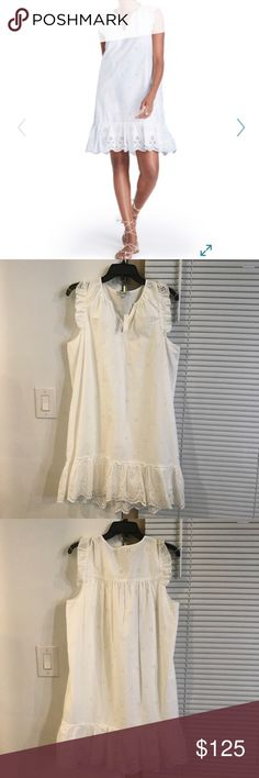 Madewell Eyelet Garden Dress NWT Brand new never worn Embroidered eyelets inspired by the lace on a '20s nightgown punctuate a breezy cotton shift perfect for warm-weather parties or bridal events. - Slips on over head - Split neck - Flutter sleeves - Lined 100% cotton Madewell Dresses Midi