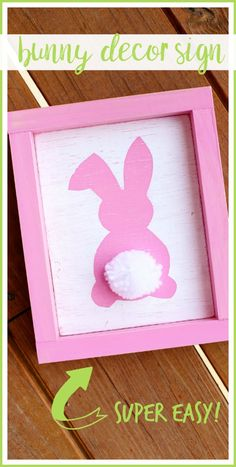 how to make a super simple Bunny Decor Sign - love this spring craft idea! - - Sugar Bee Crafts