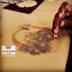 No photo description available. Zardosi Embroidery, Embroidery Motifs, Embroidery Hoop Art, Beaded Embroidery, Embroidery Designs, Russian Embroidery, Hand Embroidery Videos, Hand Work Embroidery, Simple Embroidery