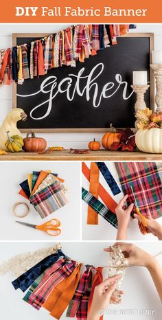 fall fabric crafts Get ready for fall with an easy DIY banner! Cut fall fabric into long strips and fold in half. Pull the fabric tails through the loop around the twine to secure. (Larks-head or cow-hitch knots work well). Hang and enjoy! Thanksgiving Crafts, Holiday Crafts, Holiday Fun, Thanksgiving Banner, Thanksgiving Decorations, Fall Banner, Diy Banner, Fall Garland, Fall Bunting