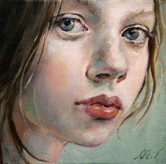 "Moonglance Portrait OOAK Original Oil on Canvas 5""x5""x1 5 "" | eBay"