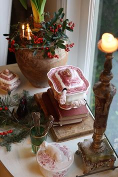 French-Kissed.com...using red and white China for Christmas decorating