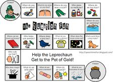 St. Patrick's Day Wh- Question Board Game via Speech Time Fun blog. Pinned by Personal Touch Therapy.