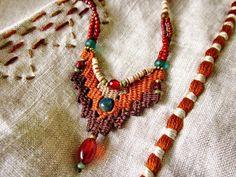 ~ Weaving jewelry by AowDusdee ~ Fiber Art Jewelry, Textile Jewelry, Fabric Jewelry, Jewelry Art, Beaded Jewelry, Jewellery, Beaded Cuff Bracelet, Beaded Necklace, Handmade Necklaces