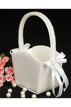 Wedding Flower Girl Basket in Ivory Satin with Faux Pearl