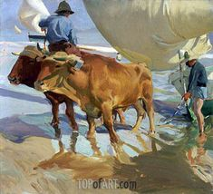 """Joaquin Sorolla y Bastida Spanish, 1863 - 1923 Oxen on the Beach, 1910 """"They"""" tell us that as of yesterday, summer is over. Yet, when you lose yourself in a painting . Spanish Painters, Spanish Artists, Manet, Claude Monet, Figure Painting, Painting & Drawing, Valencia, Memorial Art Gallery, Cow Art"""