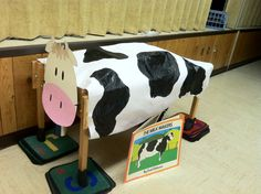 Used a water table to milk a cow- this was so much fun! I tied up the thumb and with a needle poked a hole in each finger- filled with milk- the preschoolers got the feel for milking a cow into a bucket and squirting the teacher- This was for our Farm Theme- we also made butter with heavy cream