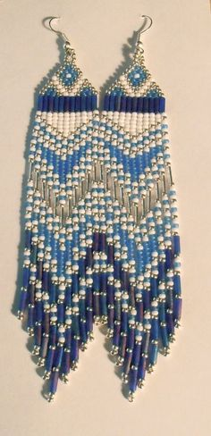 Native American Beaded Earrings, Beaded jewelry--Long, Blue, White and Silver Indian Seed Bead Earrings $30.00