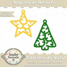 Enfeites de Natal Charms II, Christmas Ornaments Charms II, Estrela, Star, Pingente, Árvore, Tree, Enfeites de Natal, Feliz Natal, Merry Christmas, Regular Cut, Corte Regular, Silhouette, SVG, DXF, PNG