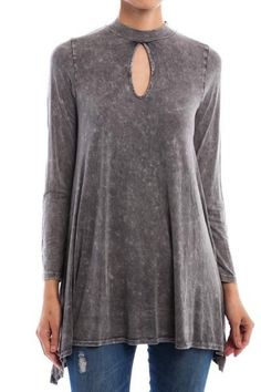 """Mineral wash charcoal grey long sleeve tunic featuring a soft stretch fit, trapeze cut, long sleeves and keyhole cutout neckline. Wear it as a tunic with leggings or skinny jeans or as a mini dress with opaque tights and boots.  95% Rayon, 5% Spandex Made in USA 33"""" Long"""