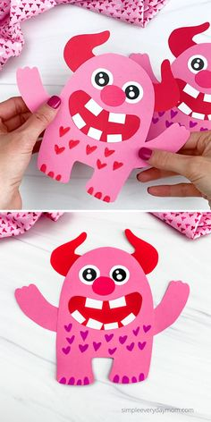 Boys and girls will love to be creative and make one of these cute love monster crafts. Download the free printable template and make them at home or in the classroom. Valentine's Day Crafts For Kids, Kid Crafts, Crafts To Make, Homemade Valentines, Valentine Day Crafts, Holiday Crafts, Yoda Card, Monster Crafts, Quick And Easy Crafts