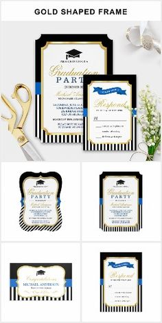 A gold shaped frame classic black navy stripes - graduation invitation suite, with items from invitations to RSVP card, thank you card, party banner, and more. If you need further customization, please feel free to contact me.
