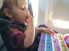 The busy box of snacks in action. She loved it. Great for airplane travel with toddlers.