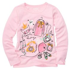 Long-Sleeve OshKosh Original Graphic Tee Textiles, Little Girl Fashion, Kids Fashion, Girls Long Sleeve Tops, Kids Graphics, Girl Trends, Girls Blouse, Kids Patterns, Kids Prints