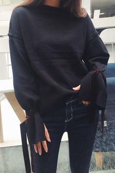 d47c8204f6 Solid Color Irregular Long Trumpet Sleeves Sweater
