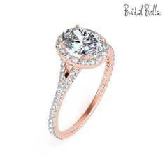 DIAMOND ENGAGEMENT RINGS - 14K Rose Gold 2cttw Oval Shaped Halo Diamond Engagement Ring