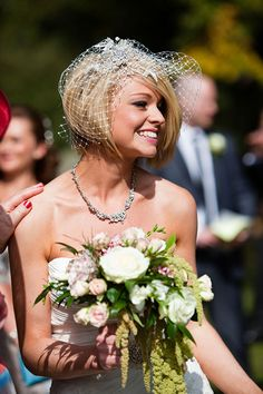 Asymmetrical Short Bob Hairstyle for Brides