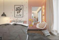Una habitación infantil-juvenil en tonos rosas y grises que nos ha dejado con la boca abierta al verla ¡Es preciosa! #decoracion #home #bedroom #kids #inspo