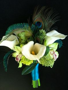 Round Calla Lily Cymbidium Orchid and peacok bridal by WaterMeNot, $140.00