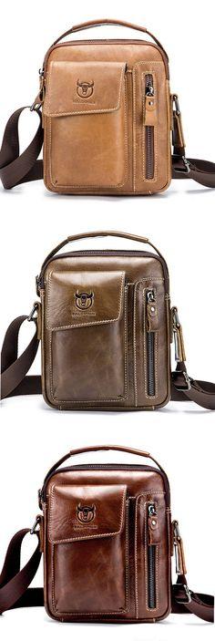 207f236ee4 Bullcaptain Genuine Leather Business Messenger Bag Vintage Crossbody Bag  For Men
