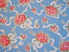 Vintage Feed Sack Roses and Ribbons on Blue by Niesz Vintage Fabric, via Flickr