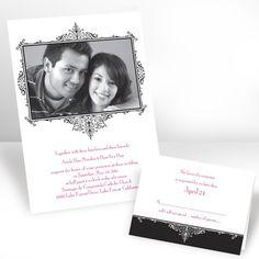Flourish Frame Photo Invitation - Ebony