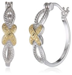 18k Yellow Gold Plated Sterling Silver Two Tone Diamond Accent Crossover Hoop Earrings Jewelry