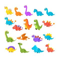 Buy Cute Cartoon Dinosaurs Set by Top_Vectors on GraphicRiver. Cute Cartoon Dinosaurs Set Of Isolated Colorful Flat Vector Illustrations On White Background In Childish Manner Cartoon Dinosaur, Cute Dinosaur, Baby Cartoon, Dinosaur Birthday, Cute Cartoon, Die Dinos Baby, Baby Dinosaurs, Dinosaur Background, Dinosaur Pictures