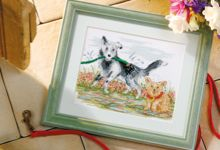 Perfect pets! #Cross #stitch these #dogs, 'Canine Garden Fun' designed by Jenny Barton - find the pattern at www.the-chart-shop.com