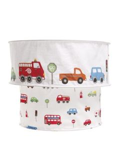 Cars, Buses and Lorries patterned across a white cotton light shade.