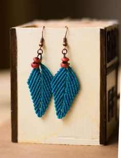 Blue Leaves Macrame Earrings with Wooden Beads by paprikaGoodies, $8.00