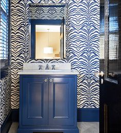 Holly Hollingsworth Phillips - Design Chic - love this wallpaper - the paint color on the cabinet is fabulous!