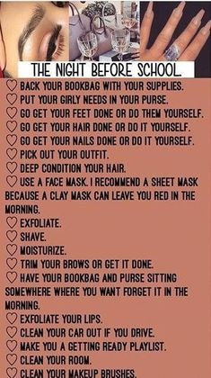 day before school. Back To School Tips For Middle School Middle School Hacks, High School Hacks, Life Hacks For School, School Study Tips, Back To School Tips, Back To School Highschool, Beauty Hacks Before School, Freshman High School Outfits, Back To School Funny