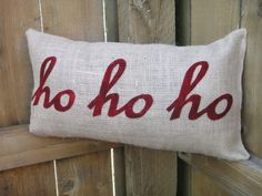 Burlap Christmas Applique Pillow by littlehousefrau on Etsy, $35.00