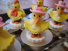 Easter Cake Toppers - I made these as Easter Cake Toppers to start with from fondant. Then I made them with a cadburys creme egg underneath and wrapped them in cellophane and curly ribbon.. I sold lots of them at the school fete, the children loved them.