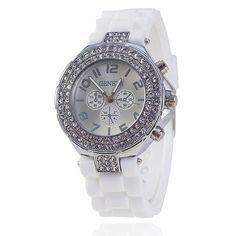 Elegantní dámské hodinky se zirkony a silikonovým páskem bílé + POŠTOVNÉ  ZDARMA Na tento produkt se 7d6d8a8777