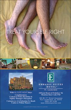 Embassy Suites Hotel ad - Ten4 Creative, is the agency behind this tasteful depiction of two men spooning. See more: http://www.cbsnews.com/news/the-fair-and-foul-of-ads-targeting-gays/