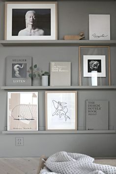 Greige book and art wall