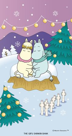 Christmas time with Moomin troll and Snork maiden and Hattifatteners