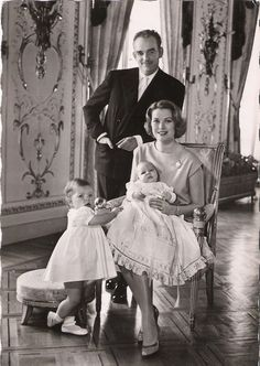 Miss Honoria Glossip via gracefilm: A postcard of Princess Grace and Prince Rainier and their children, Caroline and Albert.