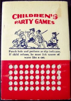 DIME STORE: 1950s Children's Party Games PUNCH BOARD  If child refuses, he must lick saucer of water like a cat…