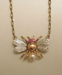 Art Deco Antique Gold Bee Necklace 18k Gold Rubies and Pearl