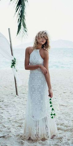 Buy & sell new, sample and used wedding dresses + bridal party gowns. Your dream wedding dress is here - at a truly amazing price! Bohemian Wedding Dresses, Bridal Dresses, Wedding Dresses Halter Top, Prom Dresses, Boho Gown, Bohemian Bride, Free People Wedding Dress, Bohemian Style, Backyard Wedding Dresses