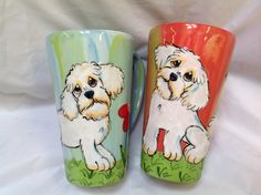 Coffee Mugs / Dog / Hand Painted / Ceramic / Pottery / Shih Tzu / Dog Pottery / Unique Design / Debby Carman / Faux Paw Productions by FauxPawProductions on Etsy