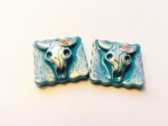 Turquoise and Silver Cow Skulls Handmade Polymer by PennysLane