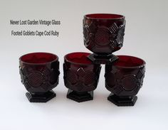 Ruby Red Footed Tumblers Avon 1876 Cape Cod by NeverLostGarden on Etsy