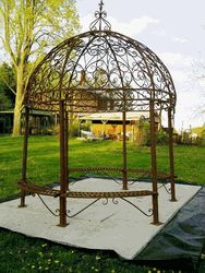 Grand Wrought Iron Large Gazebo w/ Seating Wrought Iron Garden Gazebos It really does not get any better than this. Such a wonderful metal structure gazebo ideas Iron Pergola, Pergola Canopy, Metal Pergola, Pergola With Roof, Wooden Pergola, Pergola Plans, Diy Pergola, Pergola Kits, Pergola Ideas