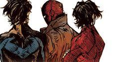 Dick Grayson, Jason Todd and Tim Drake Brothers for ever! Dc Comics, Batman Comics, Robin Comics, Nightwing, Batgirl, Catwoman, Im Batman, Batman Robin, Gotham Batman