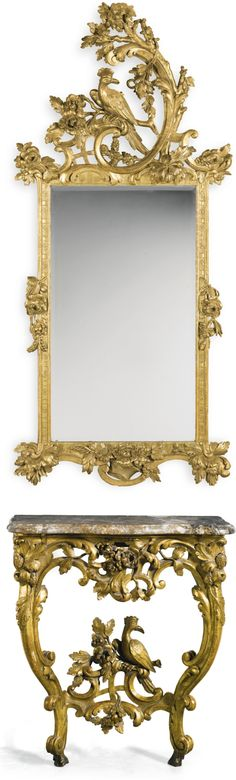 A German carved giltwood console table and mirror en suite, Ansbach-Bayreuth circa 1760 Sotheby's